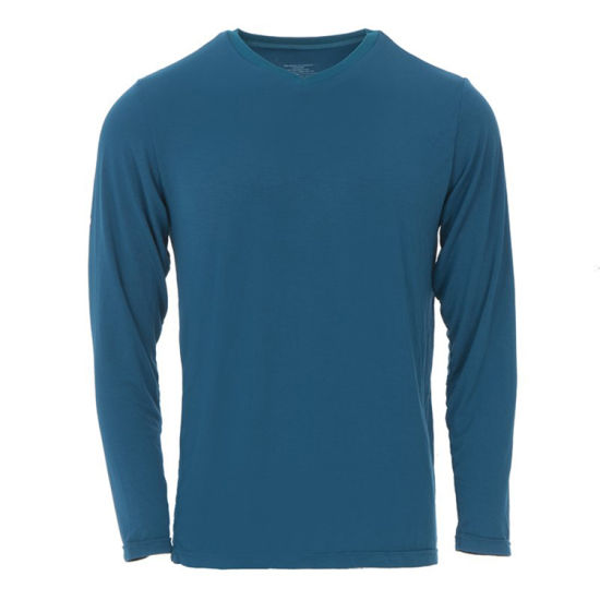 Bamboo Lounge Men's Solid Long Sleeve V-Neck Tee