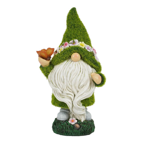 Wholesale Artificial Moss Finished Polyresin Gnome Statue with Solar Light