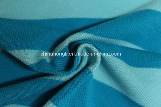 Single Pique Cotton 100%, 210GSM Yarn-Dye Stripe Knitting Fabric for Men's T-Shirt