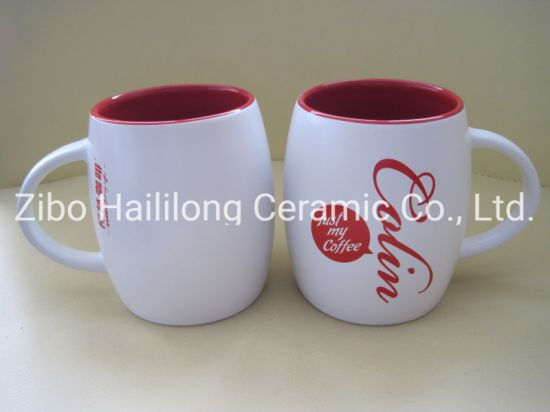 Double Opening Mould Colored Ceramic Cup with Logo