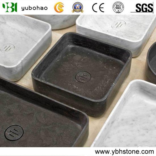 Blue Stone/Bianco Carrara Bowls, Wholesale Stone Vessel Sinks, Distributed Farm Basins, Factory Nature Stone Sinks, Manufactured Square Wash Basins