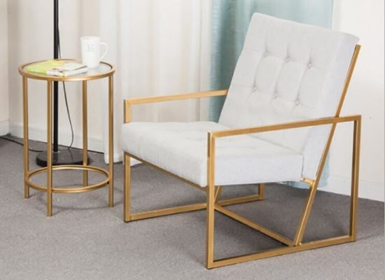 Nordic Simple Iron Sofa Chair With Light Drawing Copper