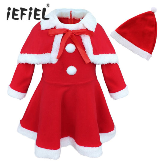 Girls Cute Dress Shawl Hat Christmas Santa Claus Costume