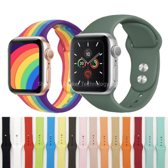 Soft Belt Shockproof Sport Silicone Watch Band Straps for Iwatch Apple Wrist Watch 38/40/42/44mm Series