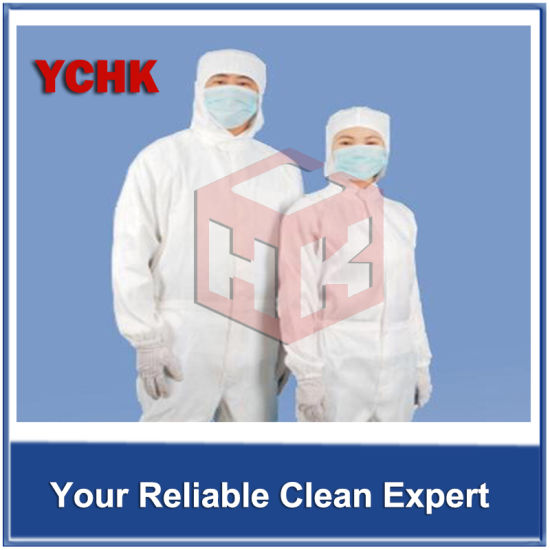 Hospital/Industry/Cleanroom ESD Garment Antistatic Overalls Hooded Work Clothing Smock and Cap