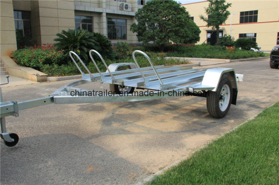 Hot Dipped Galvanized Motorcycle Trailer with Three Rails