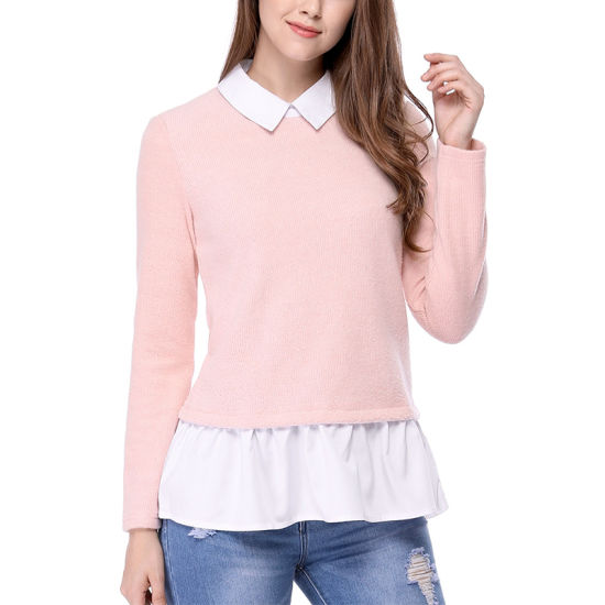 China 2019 Sweet Pink Women′s Contrast Hem Pullover Knitted Sweater ... 124164596