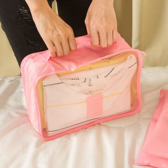 Simple Portable 6PCS Packing Clothes Underwear Cubes Shoes Travel Luggage Organizer Bag Set Fashion Sky Travel Storage Bag