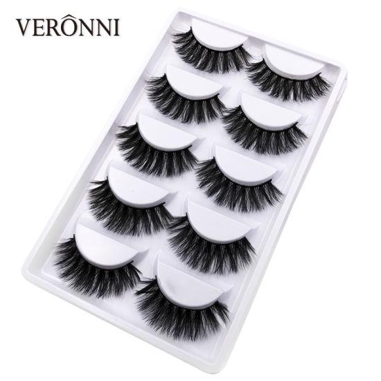 5 Pairs 3D Mink Hair Natural Cross False Eyelashes Thick Makeup Fake Eye Lashes Extension Maquiagem No Brand
