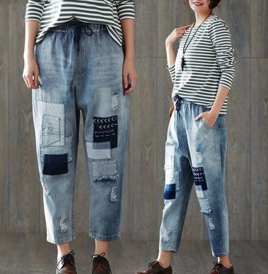 c3edb28823808 China Big Size Summer Elastic Waist Fashion Jeans for Women - China ...