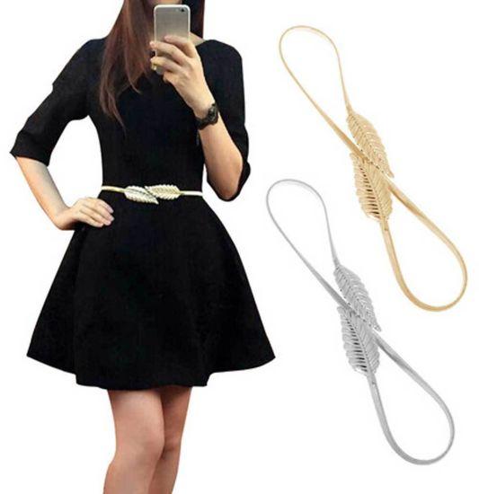 Women Belt Elastic Metal Stretch High Waist Dress Cummerbund