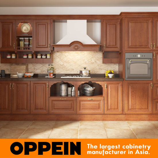 Elegant L Shaped Solid Wood Kitchen Cabinets Latest: China Oppein India Style L Shape Brown PVC Wood Modular