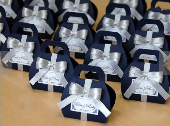 China Navy Blue Wedding Favor Box Wedding Decorative Packaging Boxes