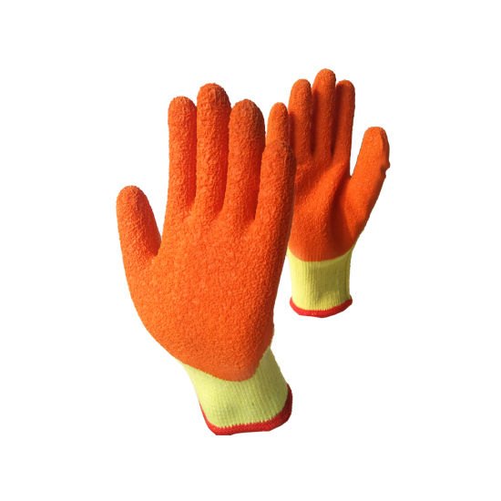China Manufacturers Cheap Price 10 Gauge Latex Gloves Crinkle Rubber Coated Work Construction Use