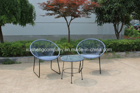 Outdoor Garden PE Rattan Chairs and Glass Coffee Table