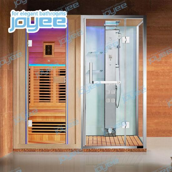 Joyee Customized Wooden Wet Steam Shower Dry Sauna Room with Sauna Stove