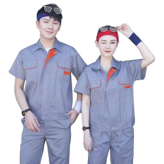 Cheap Grey Summer Cotton Work Clothes Uniform Boiler Labour Work Suit for Men