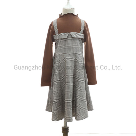 Cotton Jersey Top with Plaid Suspender Pinafore One-Piece Dress for Girl Wear Clothes