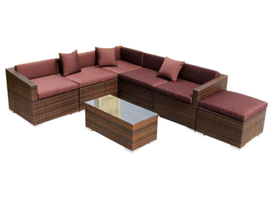 Rattan Aluminum Patio Brown Cushion Wicker Corner Sofa Set Leisure Modern Outdoor Garden Furniture