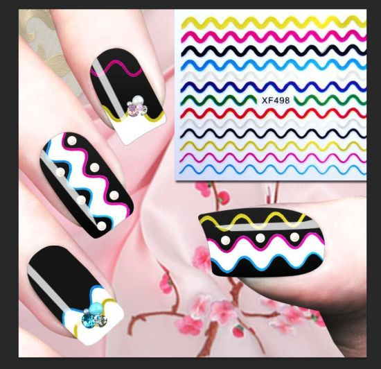 Fashion Mix Metallic Style Colorful Smile Strip Line French Stickers pictures & photos