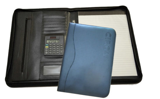 Custom Logo Zip A4 Junior Leather Padfolio with Calculator pictures & photos