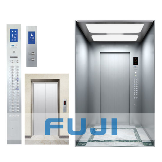 FUJI Passenger Elevator Lift with Hairline Stainless Steel Cabin and Doors