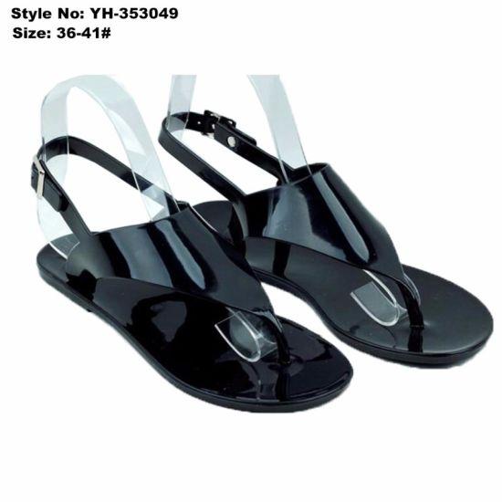 714d14baafae3 China Simple Women Ladies Flat Clip Toe Black PVC Sandal - China ...