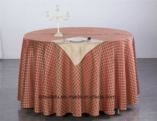 Custom Modern Design Table Linen Hotel Jacquard Round Table Cloth pictures & photos