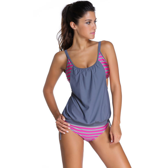 Fancy Women Sexy Layered Style Striped Tankini Swimsuit Swimwear pictures & photos