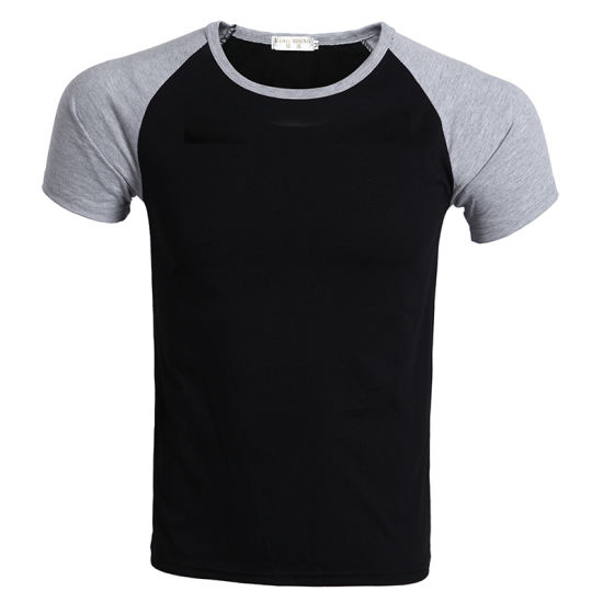 Men Raglan Short Sleeve Cotton Single Jersey O Neck T-Shirt