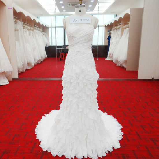8d003ba1644 Fantacy Mermaid Wedding Gown with Beading Rouched Bodice Ruffles Layers