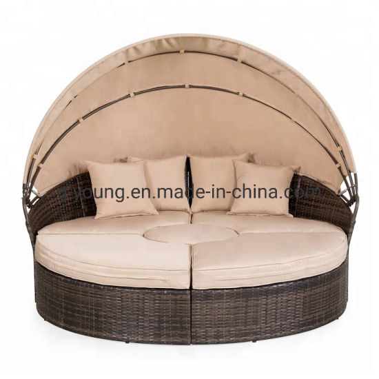 China Rattan Sunbed Round Lounger Waterproof Beach Chair Garden Sets China Garden Table Chair Furniture