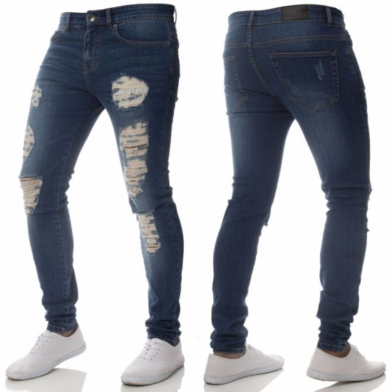 Casual Men's Pants Jeanswear Printing Straight Skinny Shorts Denim Jeans Pants