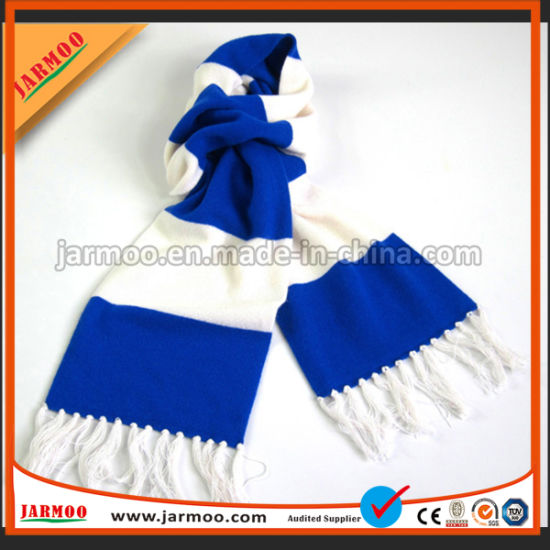 Acrylic Knit Pattern Sport Scarf Football Team Soccer Fan Scarf