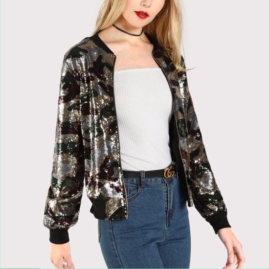 Boutique Women Clothing Baseball Collar Camo Print Sequin Casual Jacket
