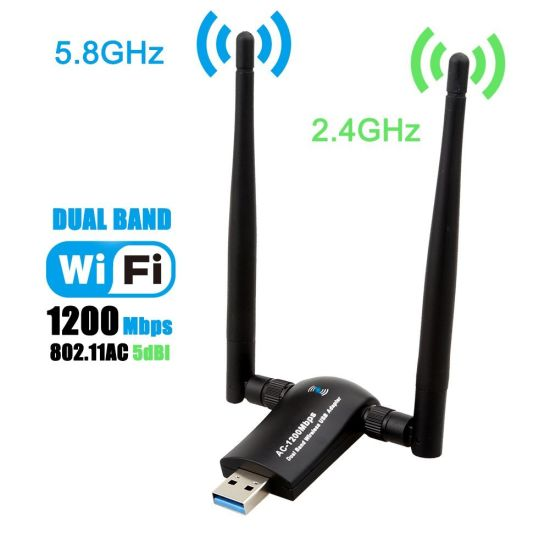 1200Mbps 802.11AC Dual Band USB WiFi Adapter WiFi Dongle 2.4GHz/300Mbps 5GHz/867Mbps for Desktop Laptop Support Linux, Mac, Windows7/8/10, Vista, XP