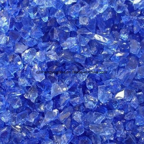 Blue Clear Crushed Glass Chips for Terrazzo