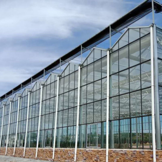 Insulating/Float/Hollow Tempered Glass Aluminum Greenhouse for Agriculture/Commercial/Poultry/ Vegetables/ Tomatoes/ Seeding/Pepper/Bell Pepper/Mushroom/Cherry