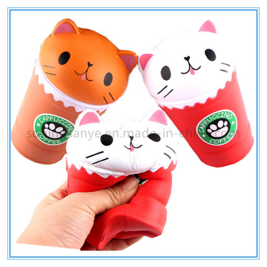 DTY0018 Stress Relief Toys for Children Novelty Coffee Cup Cat Squishy