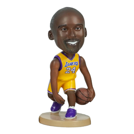 12 Cm Polyresin NBA Superstar Baller Kobe Bryant Action Figure Bobble Head for Souvenir