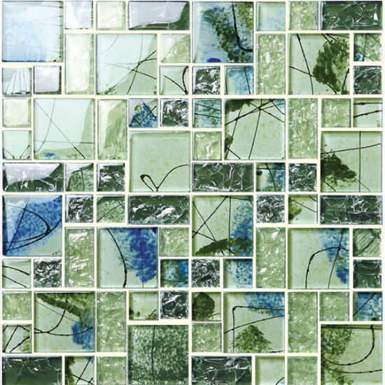 Natural Clean Green Pictures Pattern Mosaic Tile for Design