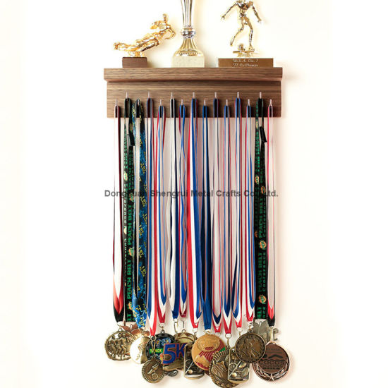Decorative Metal Medal Hooks Wooden Trophy Shelf for Gymnastics Running