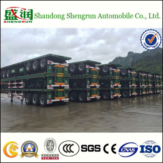 Shengrun 3 Axle Platform Flatbed Container Transport Semi Trailer pictures & photos