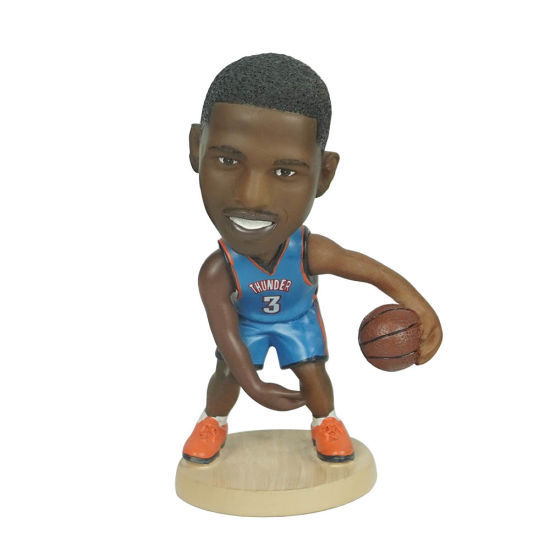 Small Size Polyresin NBA Superstar Baller Chris Paul Action Figure Bobble Head for Souvenir and Gift