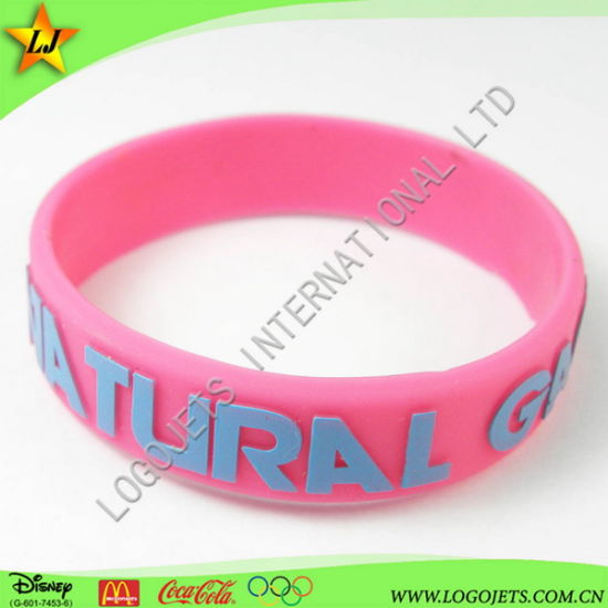 Embossed with Printing Silicone Band Customized Logo PVC Items