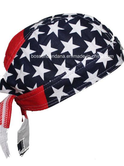 38665731d30 Custom Made Logo Printed Cotton Promotional American Flag Skull Cap Biker  Caps Headwrap