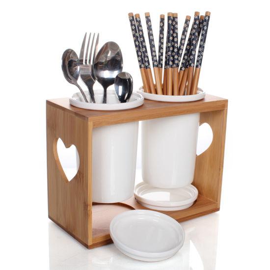 Bamboo Kitchen Utensil Holder Fork Knife Chopstick Spoon Holder