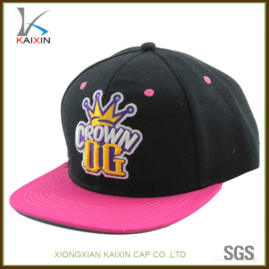 a7293874e56 Black Acrylic 6 Panel 3D Puff Embroidery Patch Logo Snapback Hats and Caps
