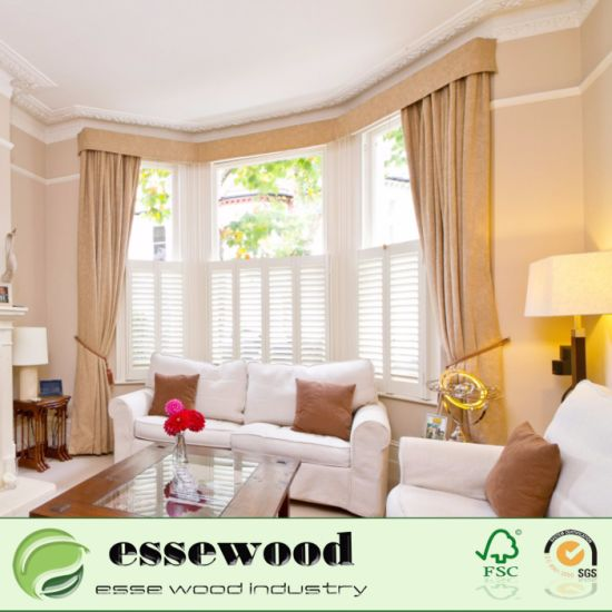 Interior Living Room Plantation Style Pvc Wooden Window
