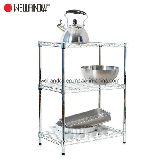 Space Saving 3 Shelf Chrome Metal Open Kitchen Appliances Storage Wire Rack  Shelving